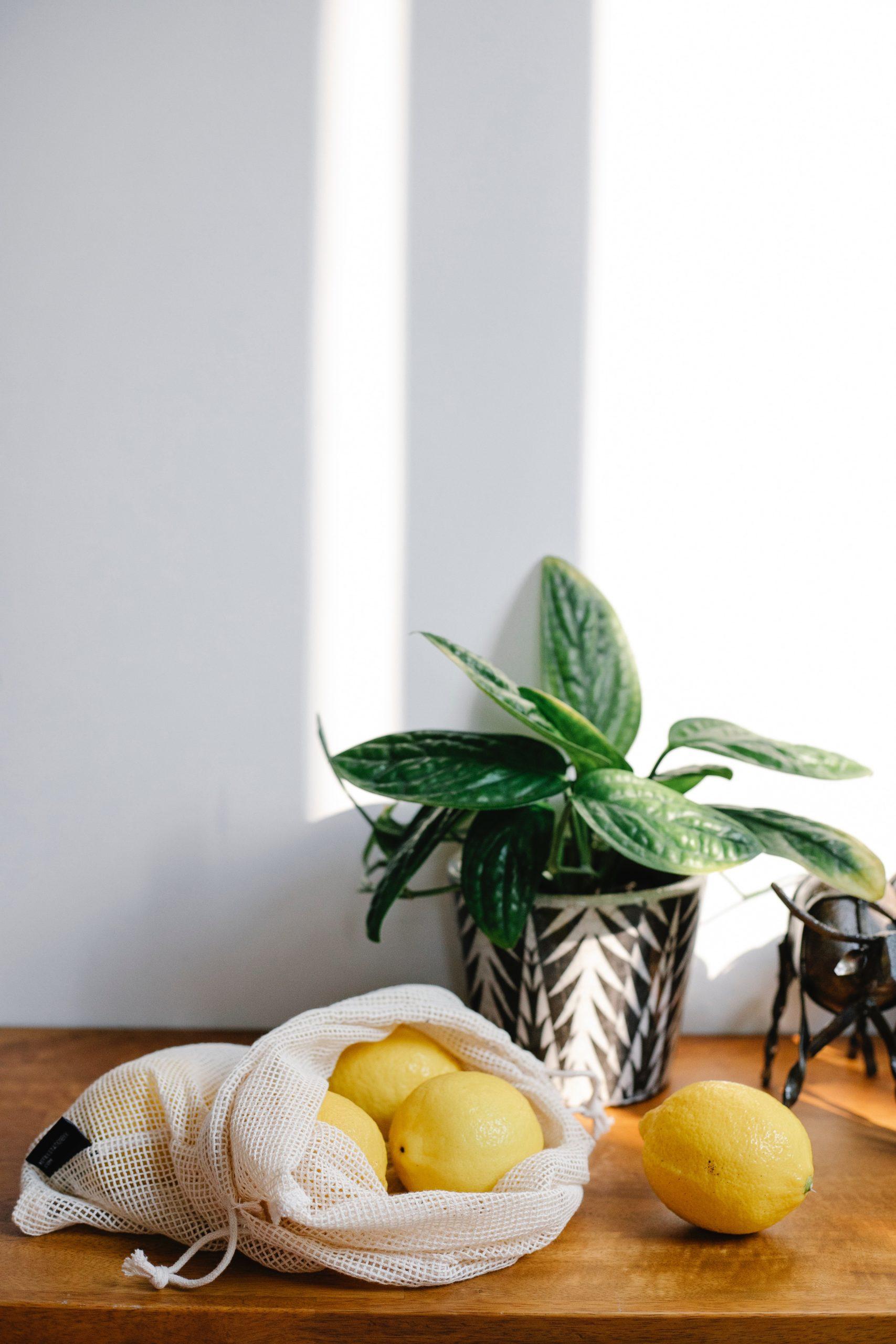 reusable produce bag with lemons