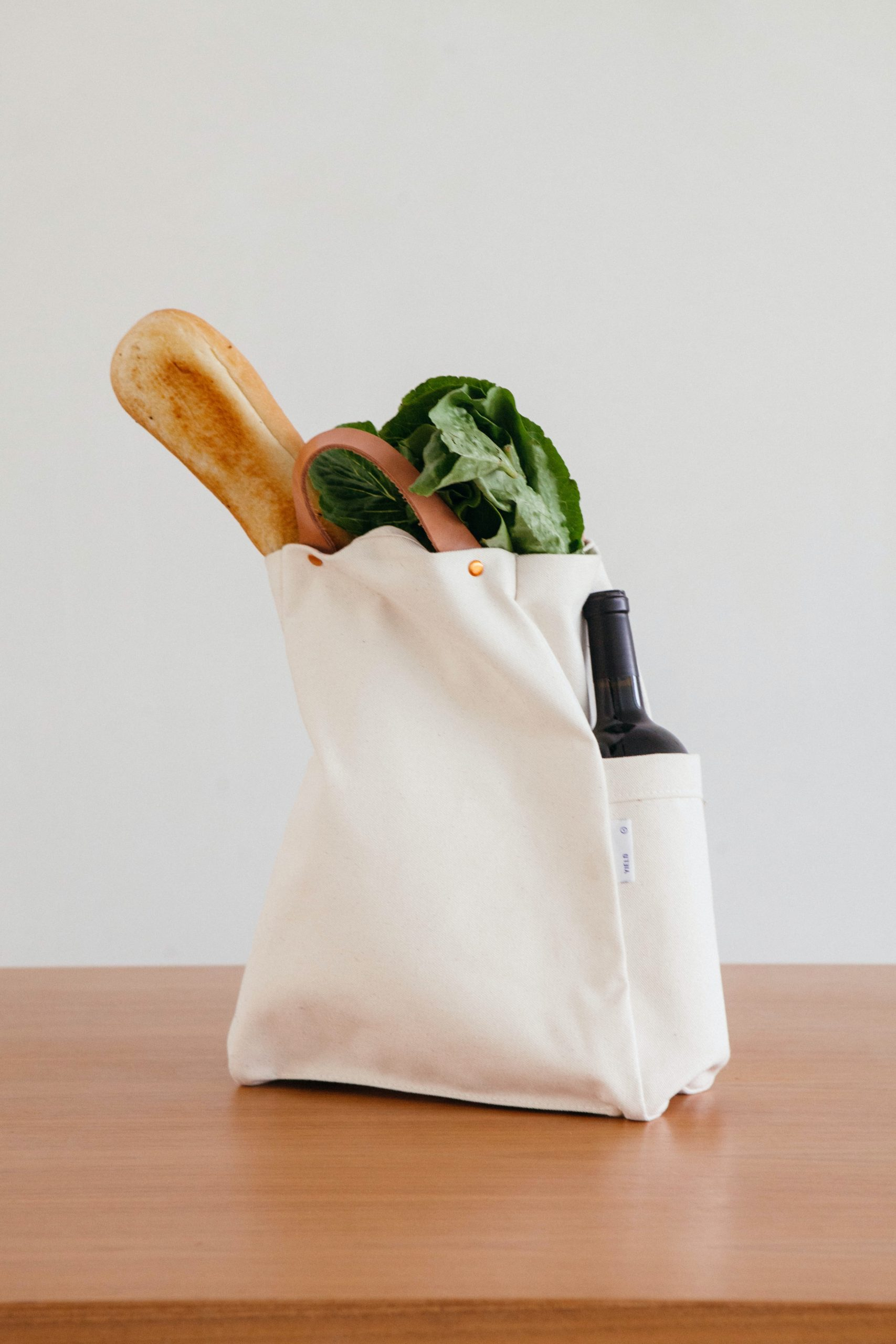 tote bag with groceries inside